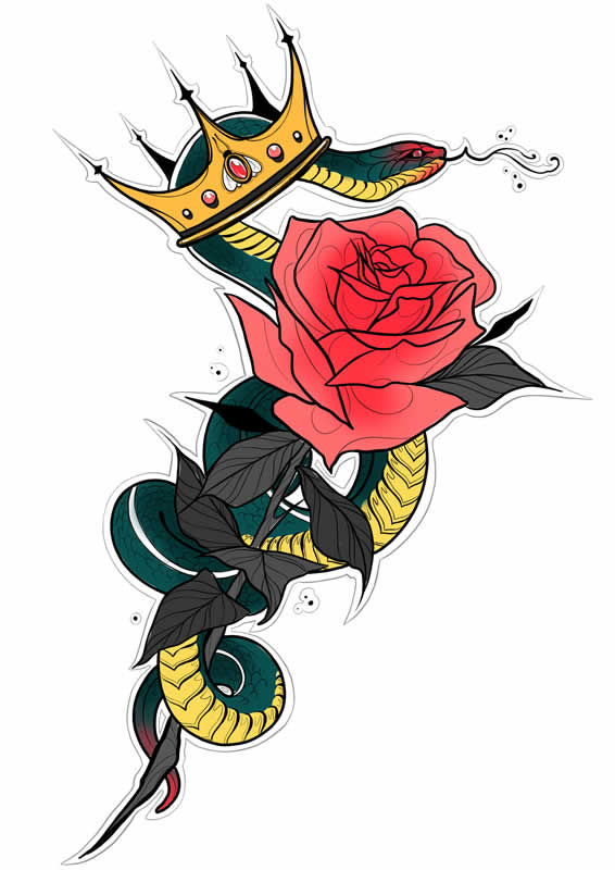 Snake and Rose Tattoo Meaning