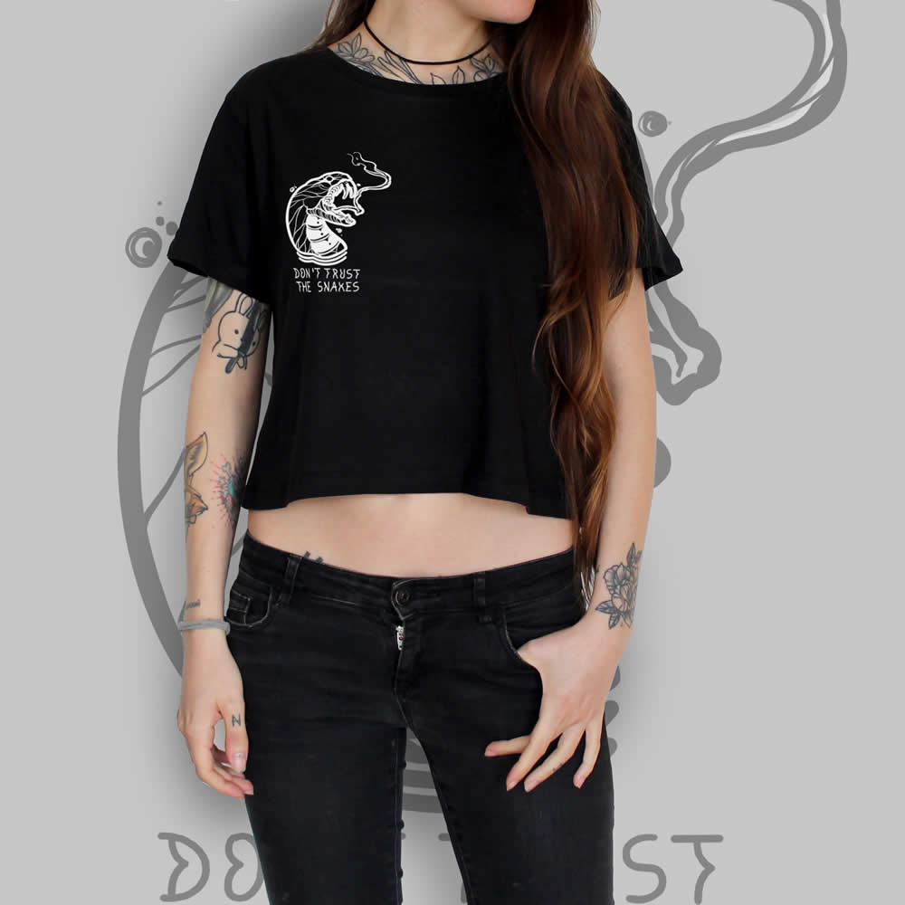 Snake Crop Top Black Tattoo Clothing