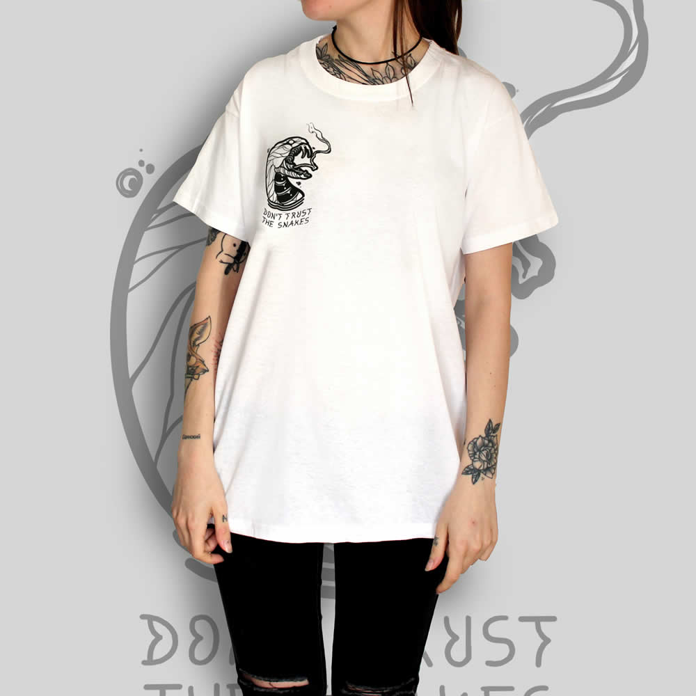 Snake White T-Shirt Tattoo Clothing