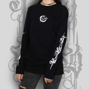 Tattoo Lettering Long Sleeve Top Black