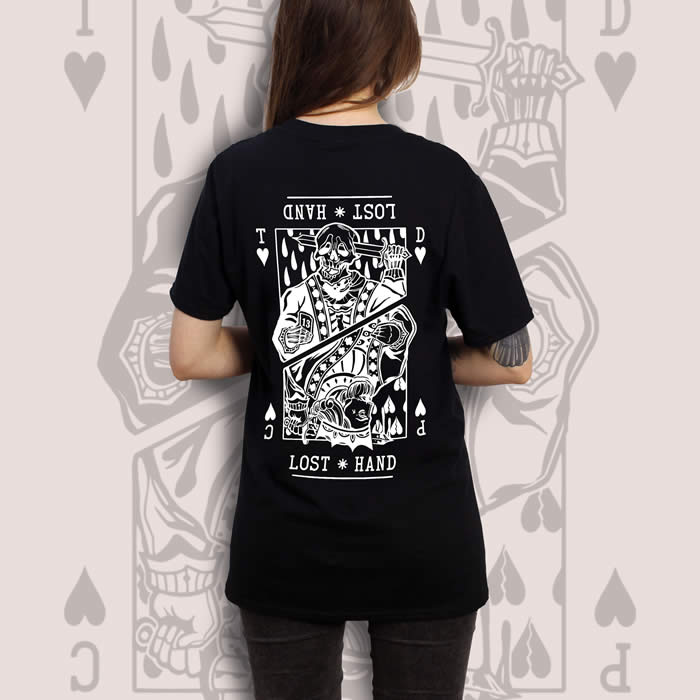 Suicide King of Hearts Back Print Black T-Shirt