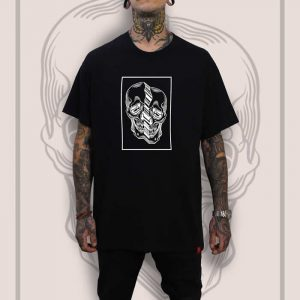 Distorted Skull Black T-Shirt Men