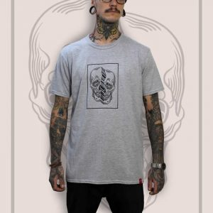 Distorted Skull Grey T-Shirt Men