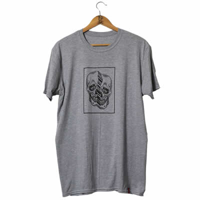 Distorted Skull Grey T-Shirt Women