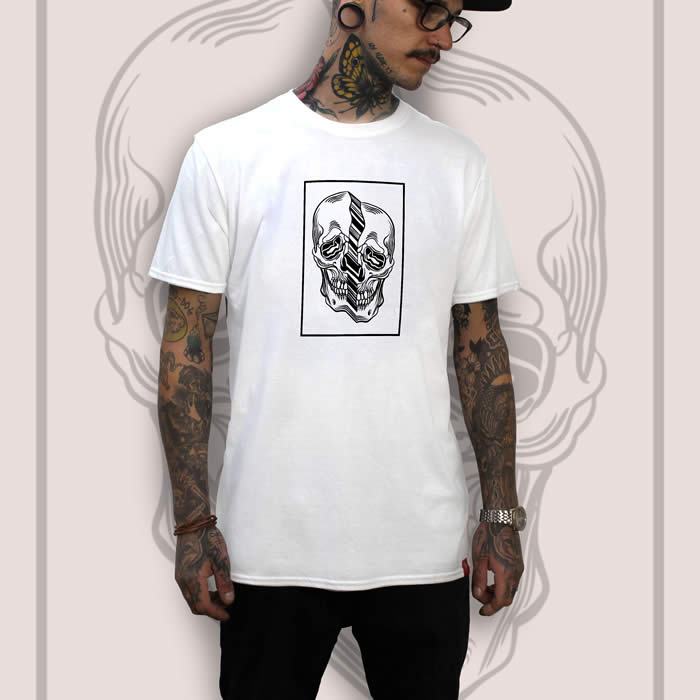 Distorted Skull White T-Shirt Men