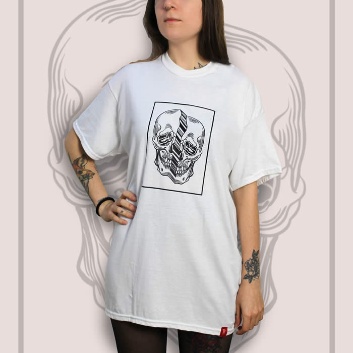 Distorted Skull White T-Shirt Women