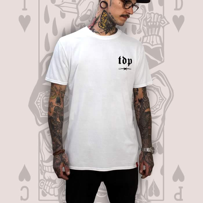 Suicide King of Hearts Logo Print White T-Shirt
