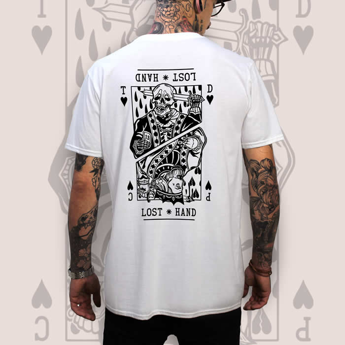 Suicide King of Hearts Back Print White T-Shirt