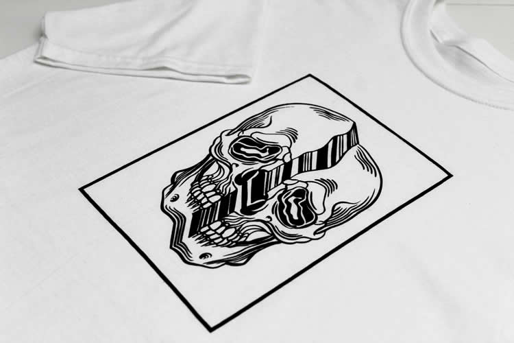 Distorted Skull White T-Shirt