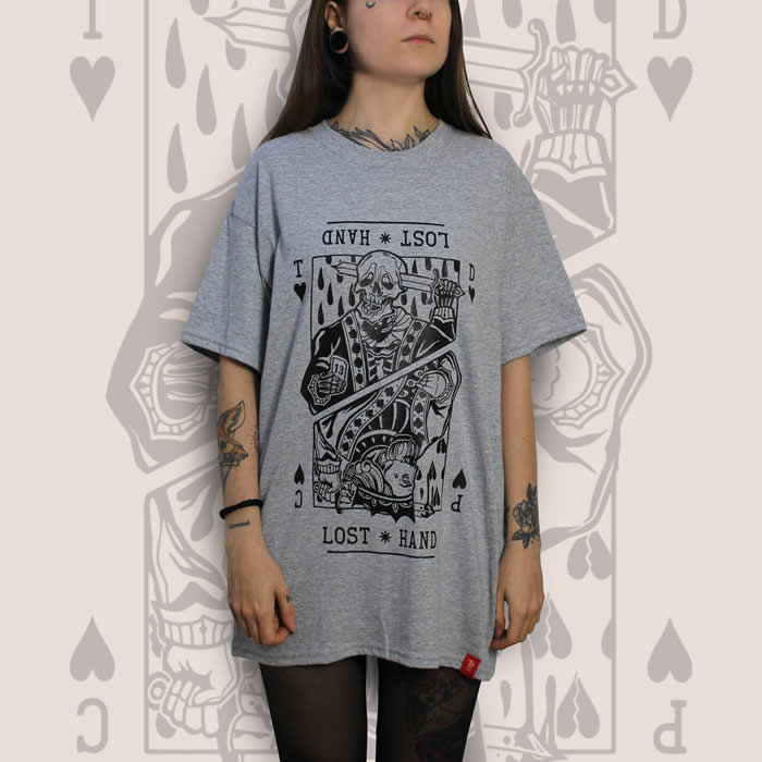 Suicide King of Hearts Front Print Grey T-Shirt Women