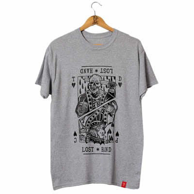 Suicide King of Hearts Front Print Grey T-Shirt