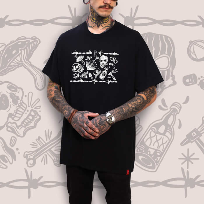 Tattoo Flash Sheet Black T-Shirt Men