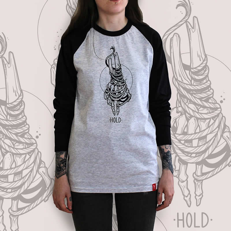 Skeleton Hand Grey Raglan