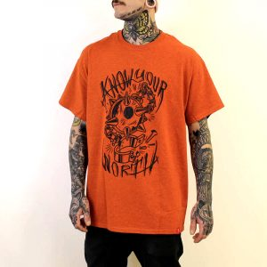 Flail Front Print Orange T-Shirt